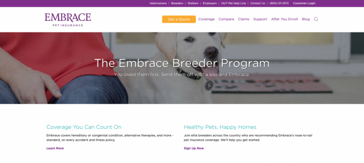 Free dog breeding business insurance with the Embrace Breeder Program.
