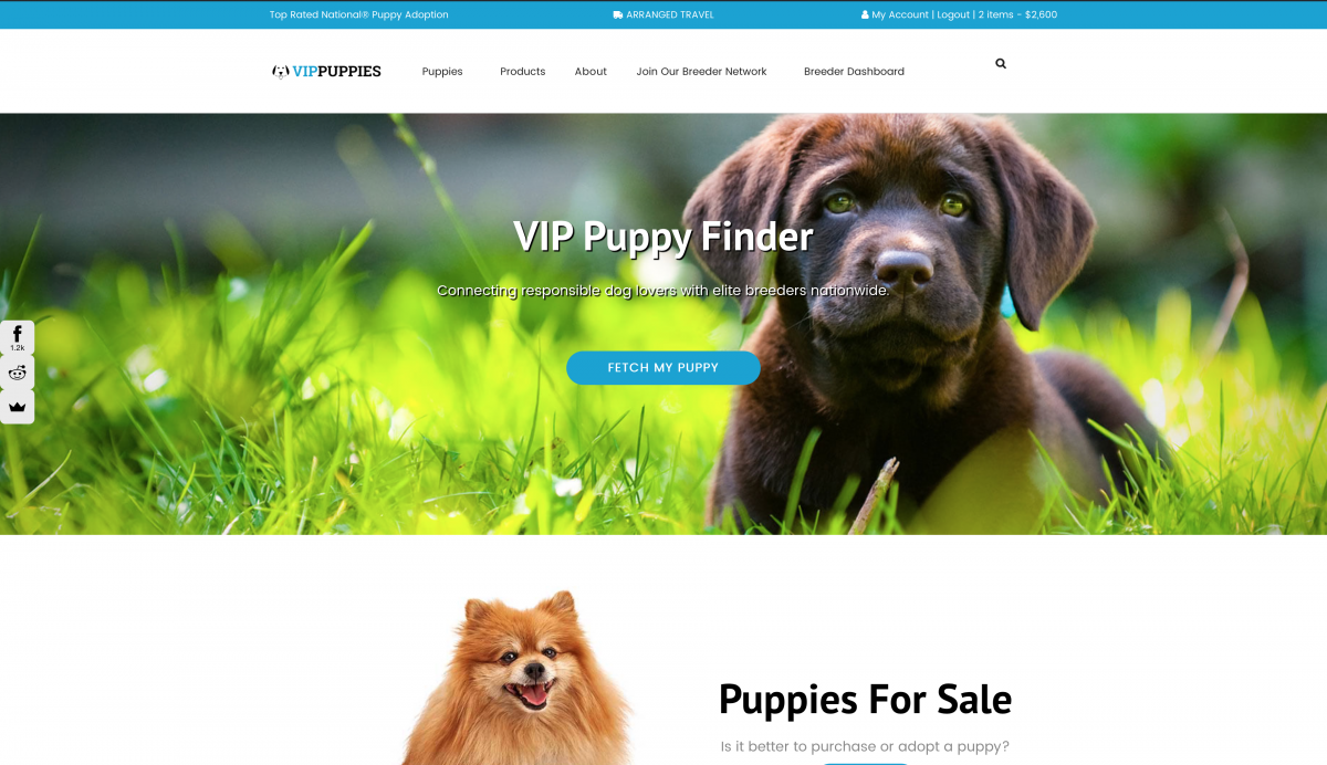 Getting a puppy at VIPpuppies.com is easy with the Puppy Finder.