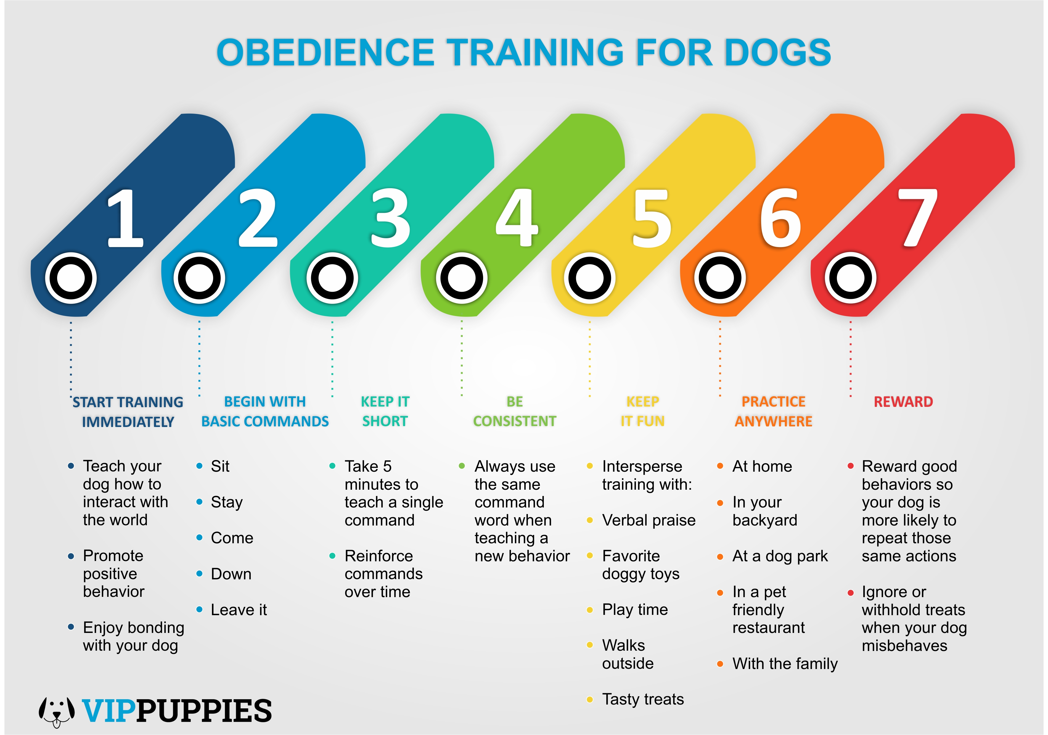 The 7 keys to obedience training for dogs.