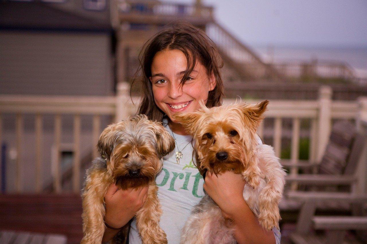 Happy girl with 2 happy doggies.