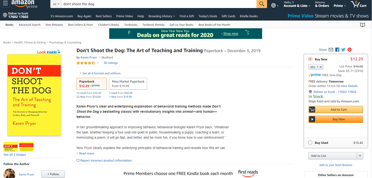 Screenshot of the dog training book, Don't Shoot The Dog.