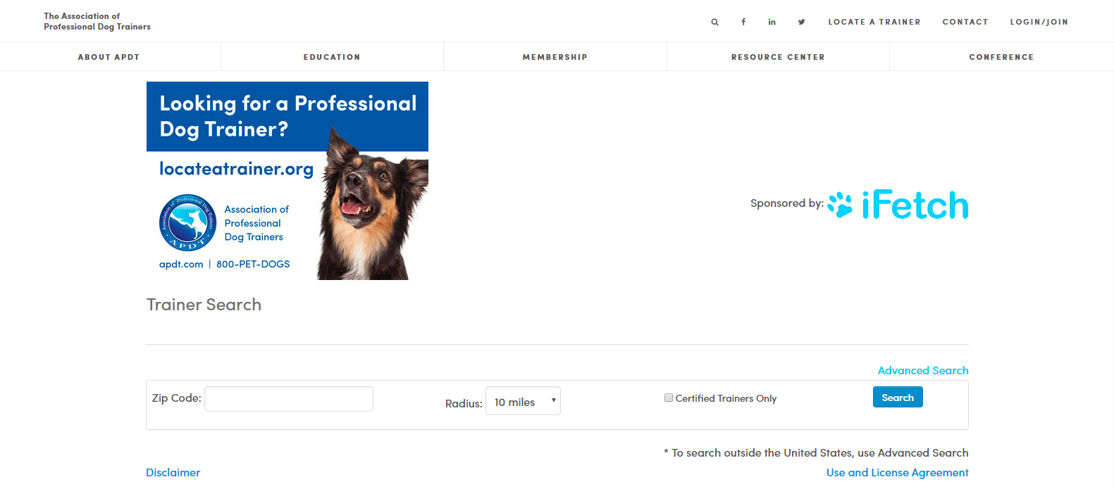Screenshot of The Association of Professional Dog Trainers website.