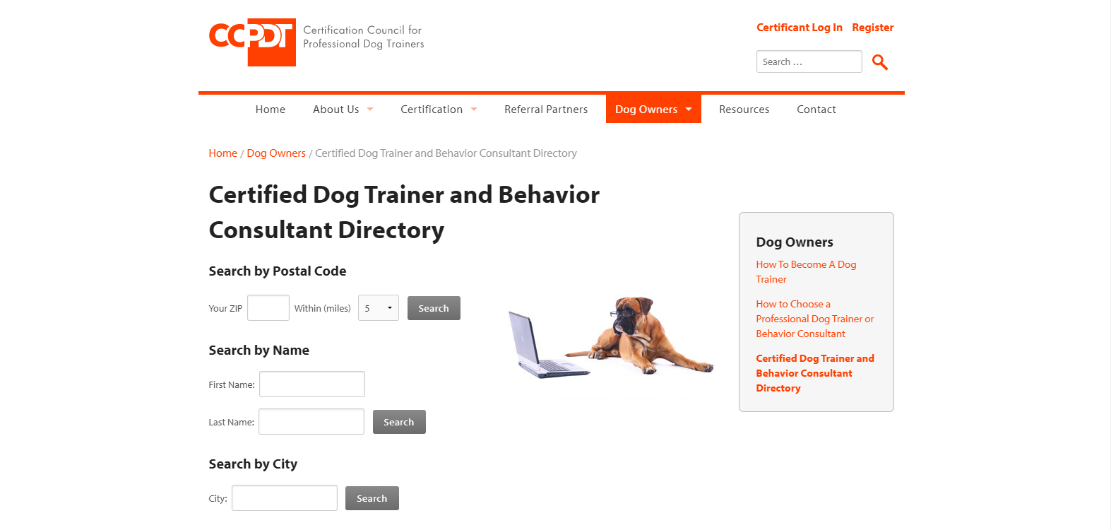 Screenshot of Certification Counsel for Professional Dog Trainers Website