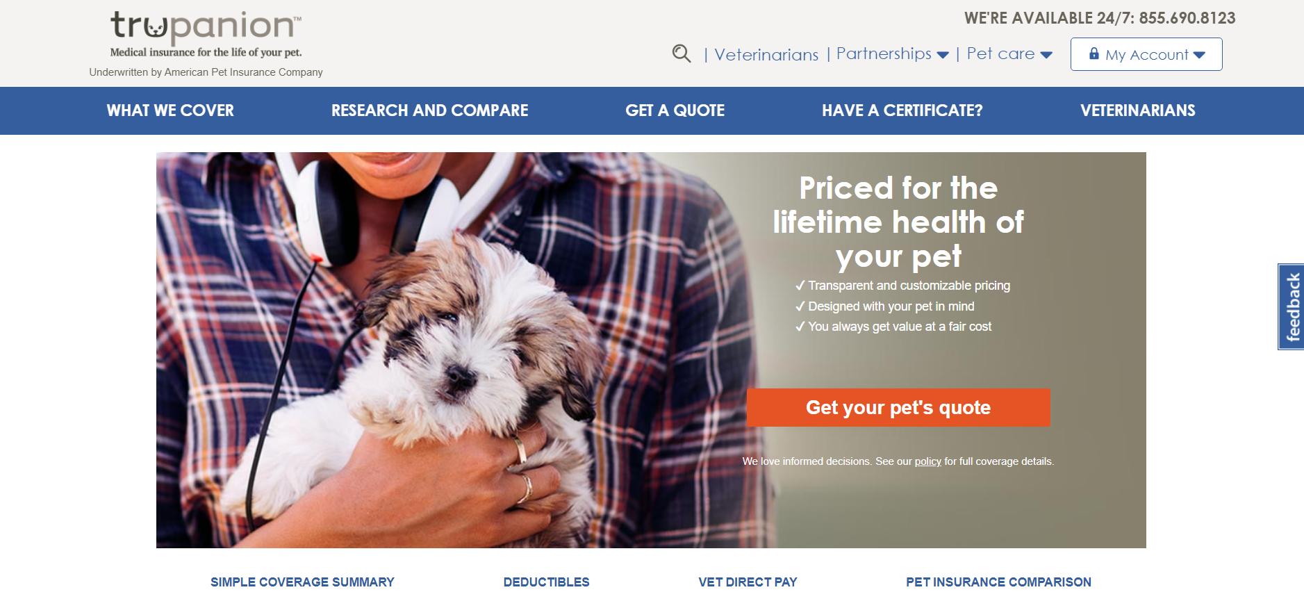 Screenshot of Trupanion Pet Insurance Website