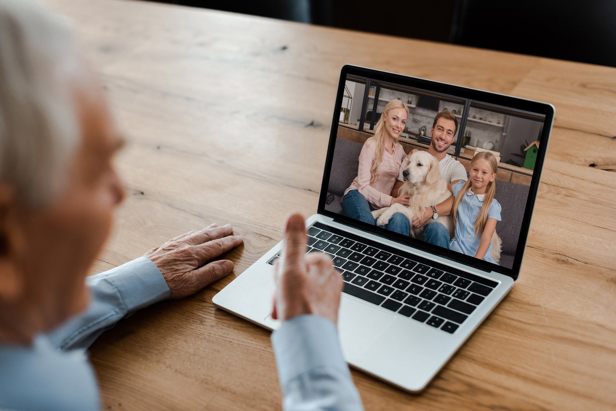 Video call between buyer and the breeder's family with the dog.